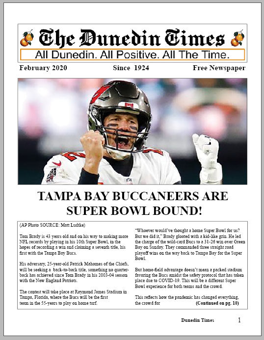 Super Bowl Issue of The Dunedin Times